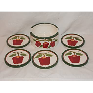 6 Piece Ceramic New Red Apples Coaster Set with Holder