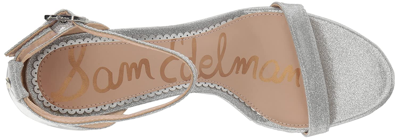 Sam Edelman Women's Patti Heeled Sandal B07BR8T6DN 9.5 W US|Argento Glitter Patent
