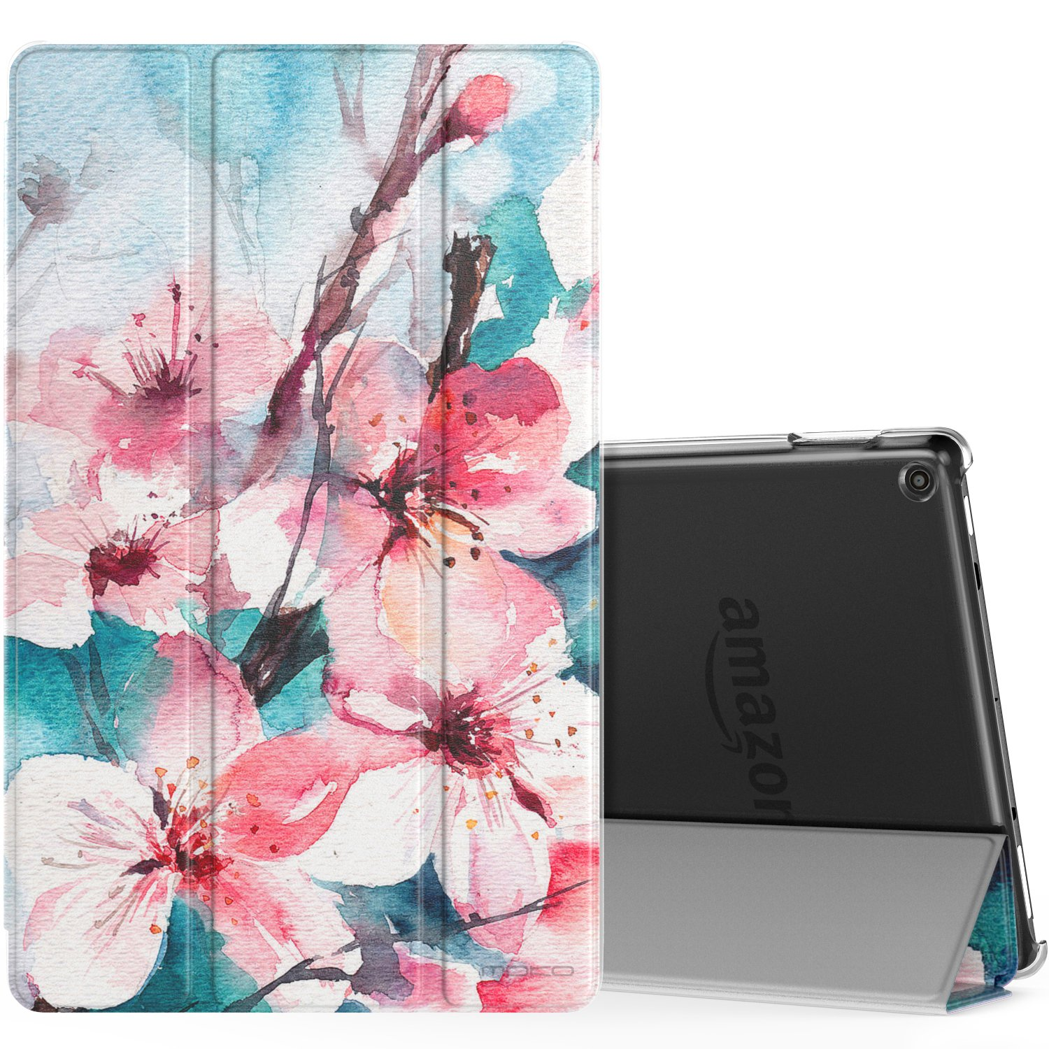 MoKo Case for All-New Amazon Fire HD 10 Tablet (7th Generation, 2017 Release) - Smart Shell Stand Cover with Auto Wake / Sleep & Translucent Frosted Back for Fire HD 10.1 Inch Tablet, Peach Blossom