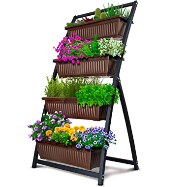 4-Ft Raised Garden Bed - Vertical Garden Freestanding Elevated Planters 4 Container Boxes - Good for Patio Balcony Indoor Outdoor - Cascading Water Drainage (1-Pack/Fernie)