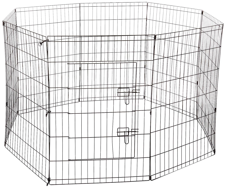 (90cm) Pet Exercise Pen Tube Gate w Door (8 Panel Playpen) Heavy Duty Folding Metal Out-Door Fence