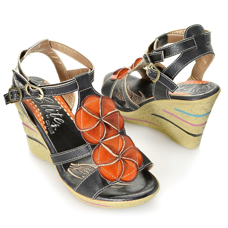 Corkys Elite Ocean Leather Wedge Sandal B0746N3FVM 8 B(M) US|Black/Tan