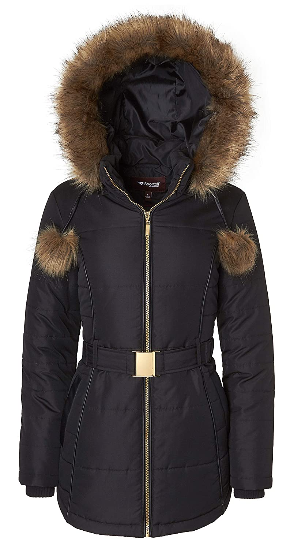 Black Sportoli Women's Down Alternative Long Belted Puffer Coat with Fur Trim Detachable Hood