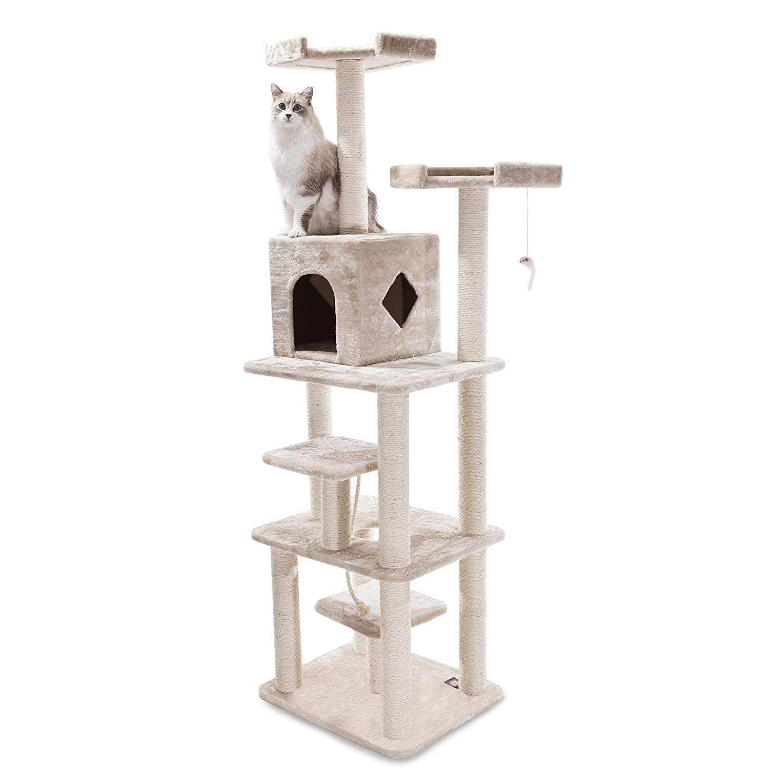 Majestic Pet Products 78 inch Beige Casita Cat Furniture Condo House Scratcher Multi Level Pet Activity Tree