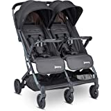 Joovy Kooper X2 Double Stroller, Lightweight Travel Stroller, Compact Fold with Tray, Forged Iron