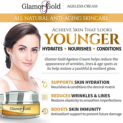 Glamor Gold Ageless Cream- Anti-Aging Skincare for Fine Lines and Wrinkles - Collagen Production Micro Needle Derma Roller Meso Roller For Acne Scar Freckle Set 3 in 1 0.5+1.0+2.5
