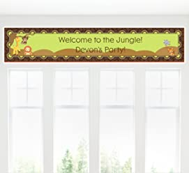 Big Dot of Happiness Custom Funfari - Fun Safari Jungle - Personalized Baby Shower or Birthday Party Decorations Party Banner