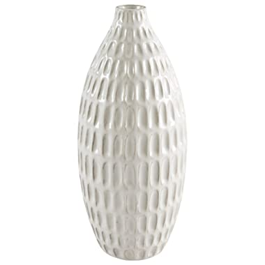 Stone & Beam Modern Oval Pattern Decorative Stoneware Vase, 11.1 Inch Height, Off-White