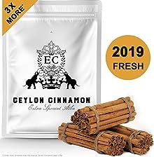 "Ceylon's Finest True Alba Cinnamon (Canela Ceilan) | 6"" Long Organic Sticks | 2019 Fresh Harvest | Naturally Sweet Cinnamomum Zeylanicum (Verum) | Lanka Luxury Spices | 100 Grams (Approx 20-25 Quills)"