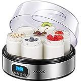 Yogurt Maker - AICOOK Automatic Digital Yogurt Maker Machine with Timer Control & LCD Display, Includes 7 Glass Jars 47 oz an
