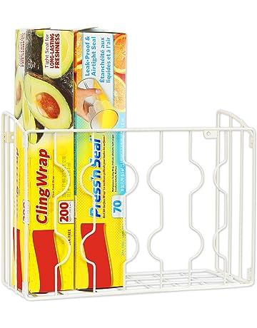 Simple Houseware Wall Door Mount Kitchen Wrap Organizer Rack, White