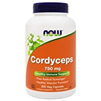 NOW Foods Cordyceps 750mg 200 Veg Caps - Organic Cordycep Sinensis Mycelium Mushroom...