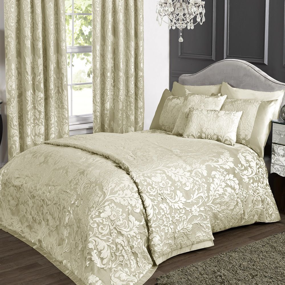 Kliving Luxus Charleston Creme Jacquard Bettwäsche Collection (Bettbezug, Tagesdecke, Boudoir Kissenbezug, und Vorhänge erhältlich, separat erhältlich), beige, Super King Duvet Cover Set