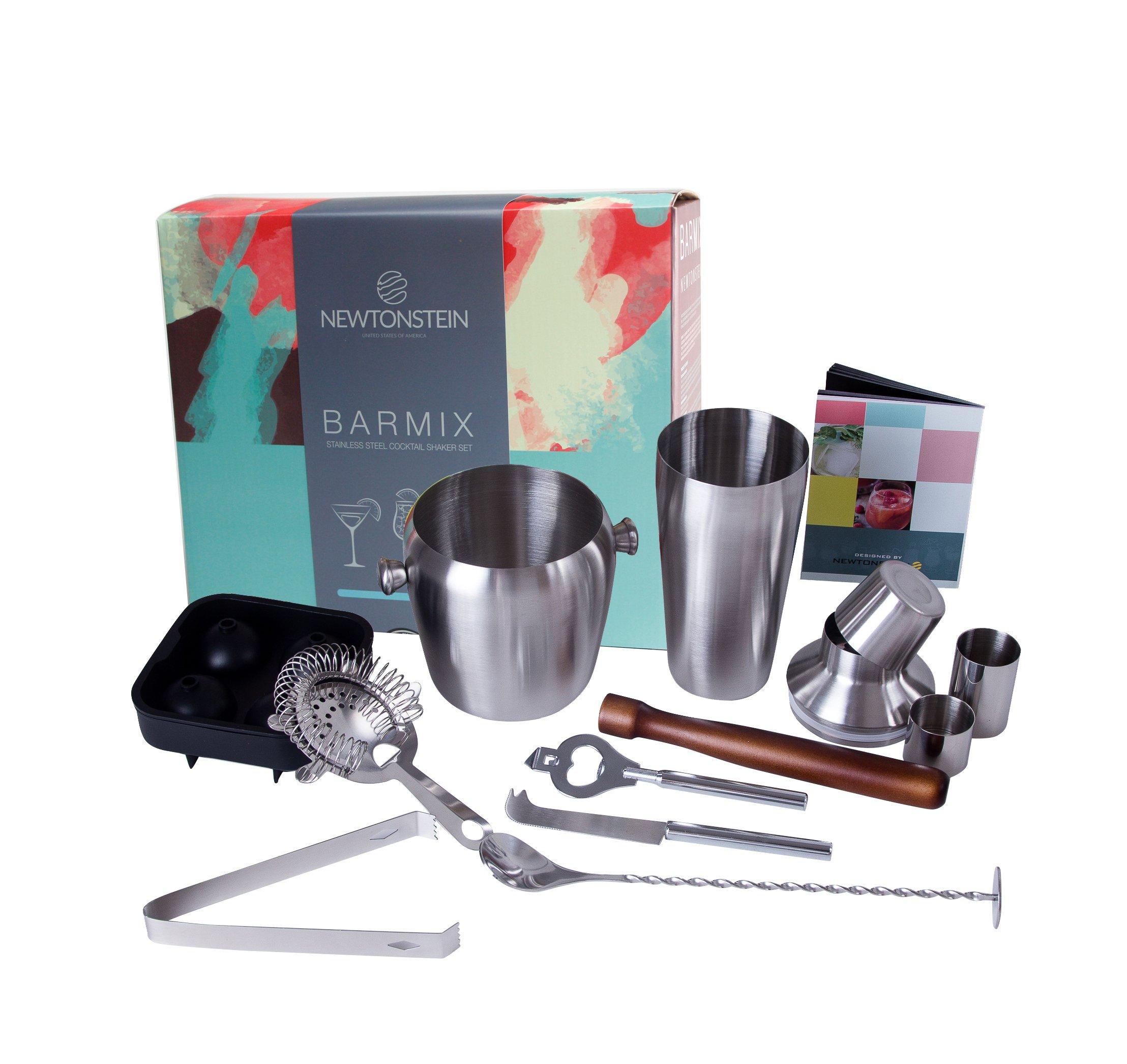 Barmix - 56 piezas de acero inoxidable para coctelería - Coctelera de 750 ml, Colador