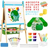 Belleur All-in-one Kid Easel Including 2 Paper Rolls, Magnetic Letters, 6 Finger Paints, 8 Colors Markers, Deluxe Standing Ar