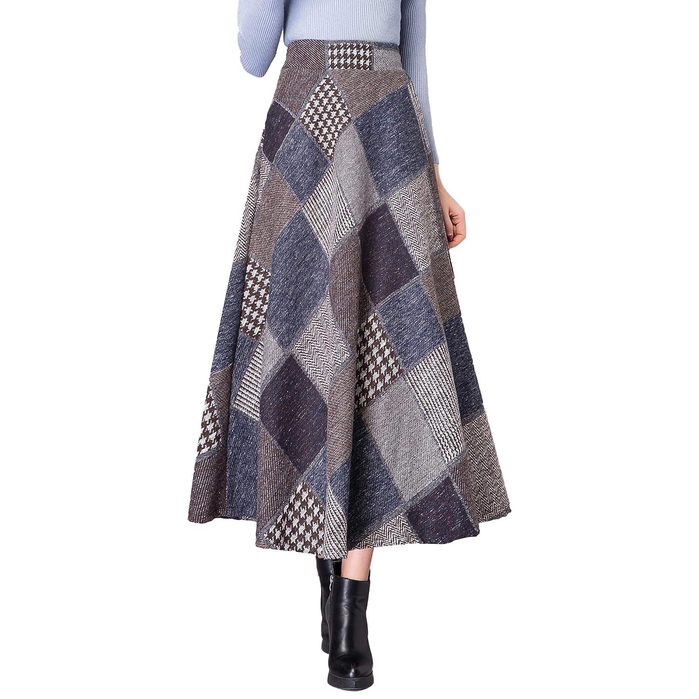 Qz125 bluee Nantersan Women's Winter Warm Flare Long Plaid Skirt Hairy High Elastic Waist Maxi Skirt Aline Plaid Skirts