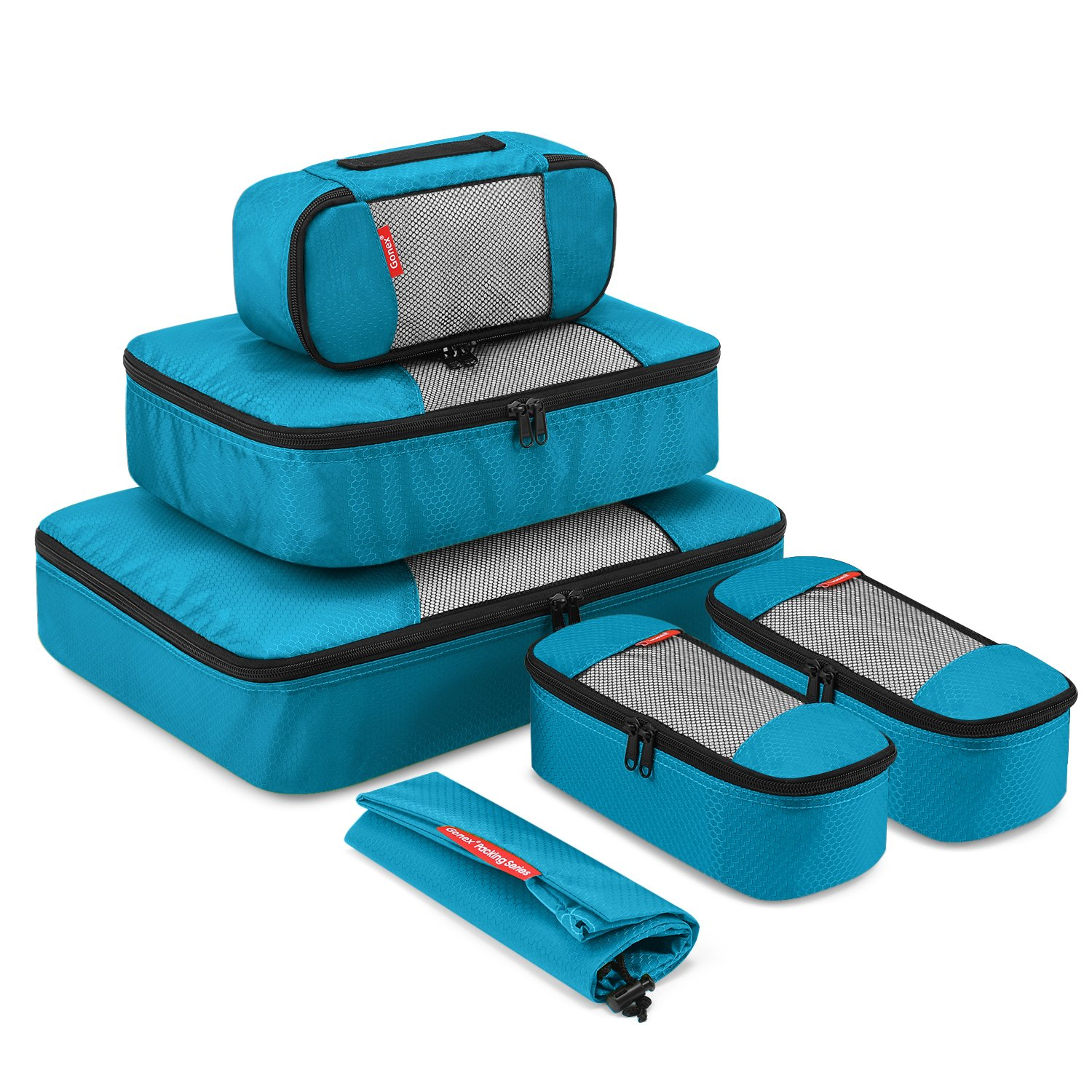 Gonex Packing Cubes Luggage Travel Organizers L+M+3XS+Shoe Bag Blue product image