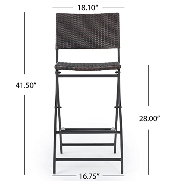 Marinelli Outdoor Multibrown Wicker Barstools (Set of 2)