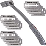 BRO SHAVER Back Hair Shaver, Uses Standard Double Edge (DE) Safety Razor Blades, Cheap Penny Refills, Stainless Steel Bolts,