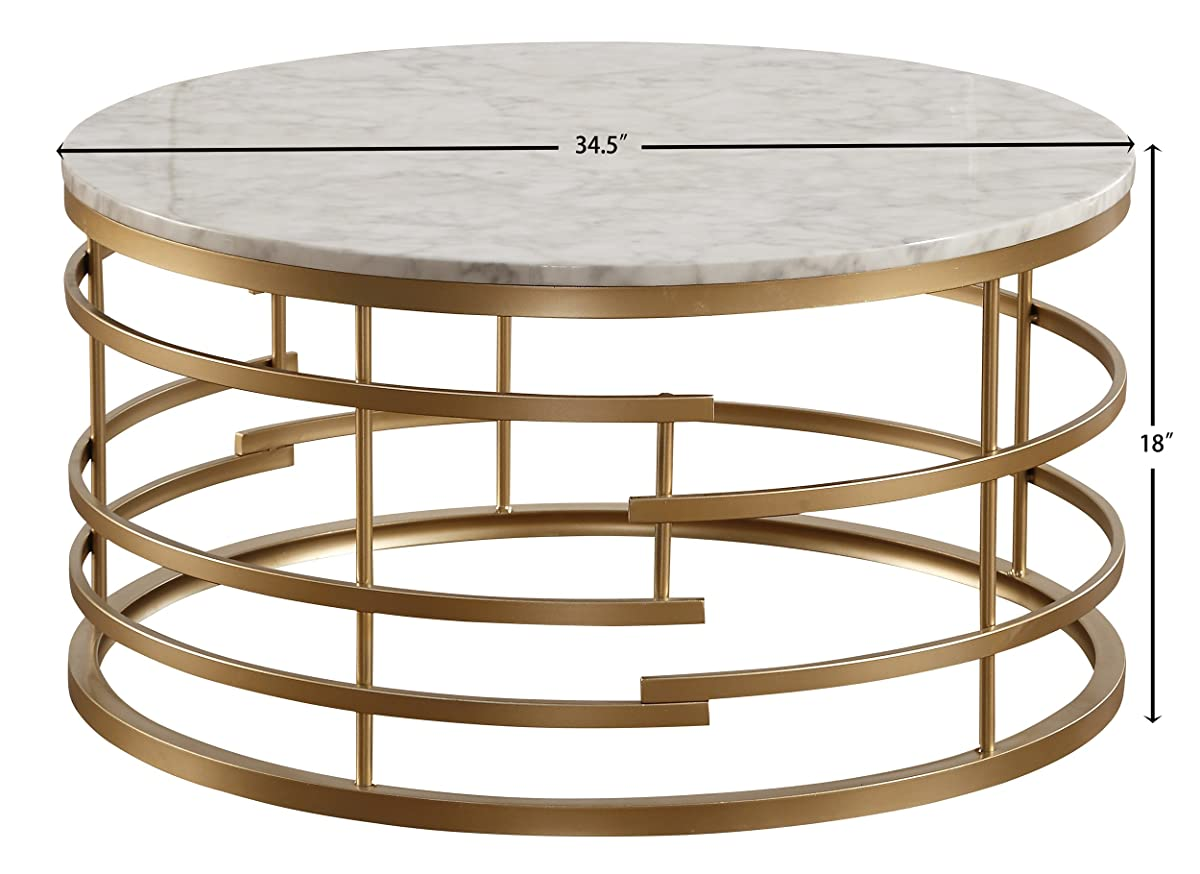 "Homelegance Brassica 34"" Round Faux Marble Top Coffee Table, Gold"