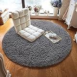 ST. BRIDGE Super Soft Round Shaggy Fur Area Rugs, Indoor Modern Living Room Bedroom Floor Home Decor Carpet, Anti-Skid Fluffy