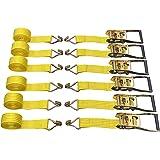 "6 Pack 2"" x15' Ratchet Strap Tie Down 5000lbs J Hook"