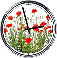 Wall Clock red poppies