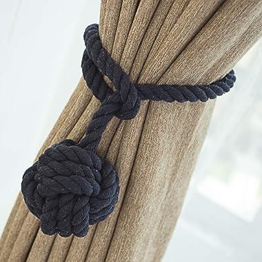 LIFONDER Window Curtain Tie Backs, Decorative Hand Knitting Cord Curtain Tie Ropes/Holdbacks/Tiebacks for Indoor Outdoor Drapes, 2 Packs, Navy