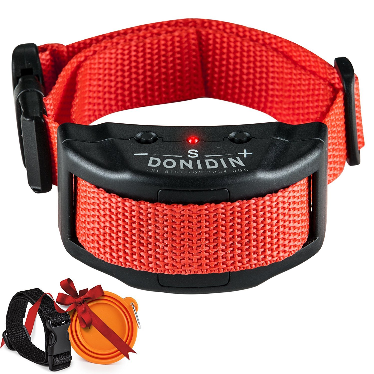 No Bark Dog Collar Safely Stops Incessant Barking 7 Sensitivity Levels for Small Medium & Large Dogs (18-120 lbs.) Uses Humane & Static Stimulation with Extra Bonuses by Donidin
