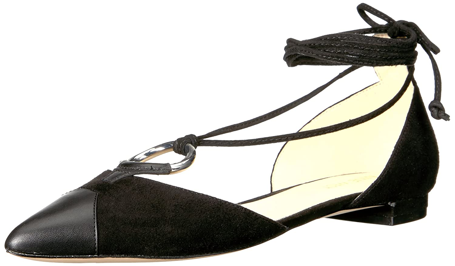 Nine West Women's Alice Suede Pointed Toe Flat B01IOZTZSA 6.5 B(M) US|Black