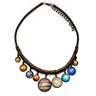 Solar System Bib Necklace All 9 Planets Space Pendants Gift for girlfriend Universe Galaxy Jewellery
