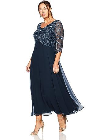 80dbc85fd8fc J Kara Women's Plus Size 3/4 Sleeve Geo Beaded Gown
