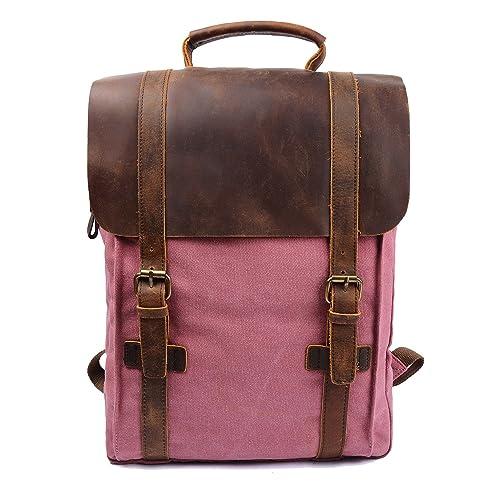 S-ZONE Updated Double Zipper Version Unisex Vintage Canvas Genuine Leather Travel School Bag 15.6 Laptop Backpack Rucksack Daypack (Pink)