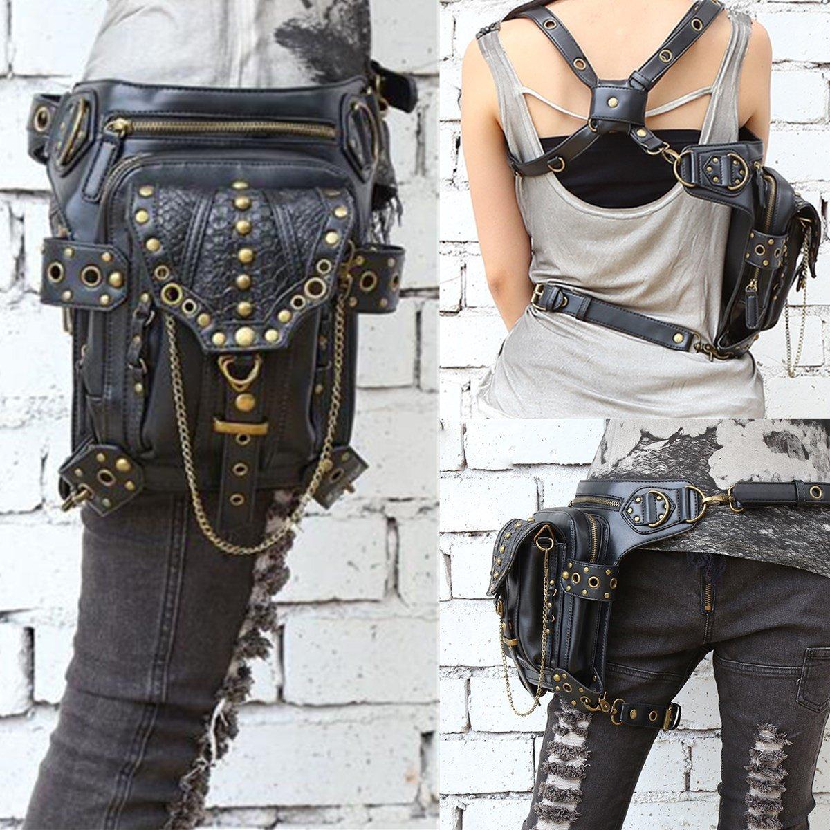 Plat Firm Cintura Pierna Hip Hip Pierna Holster Purse Pouch Steampunk Belt Bag Cyberpunk Coin Purse Negro 951ddb