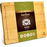 XXL Bamboo Cutting Board for Kitchen with Juice Groove - Wooden Chopping Board for Meat, Vegetables, Fruit and Cheese | Charc