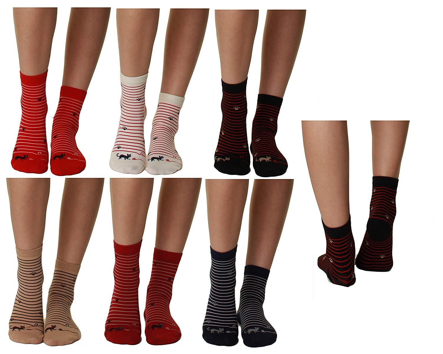 Cat Claw GILBIN'S Womens Girls Cute Casual Comfortable Cotton Animal Print Novelty Socks (6 Pack)