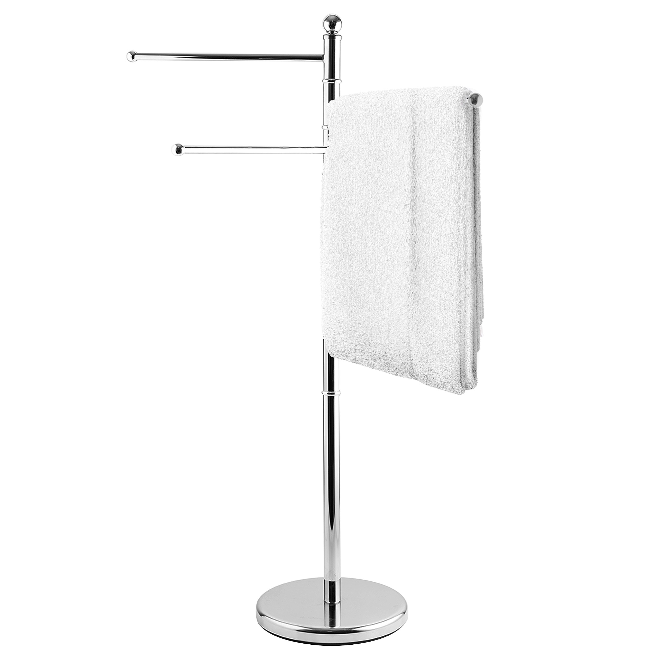 Mygift 40 inch standing stainless steel bathroom towel kitchen towel rack stand with 3 swivel arms
