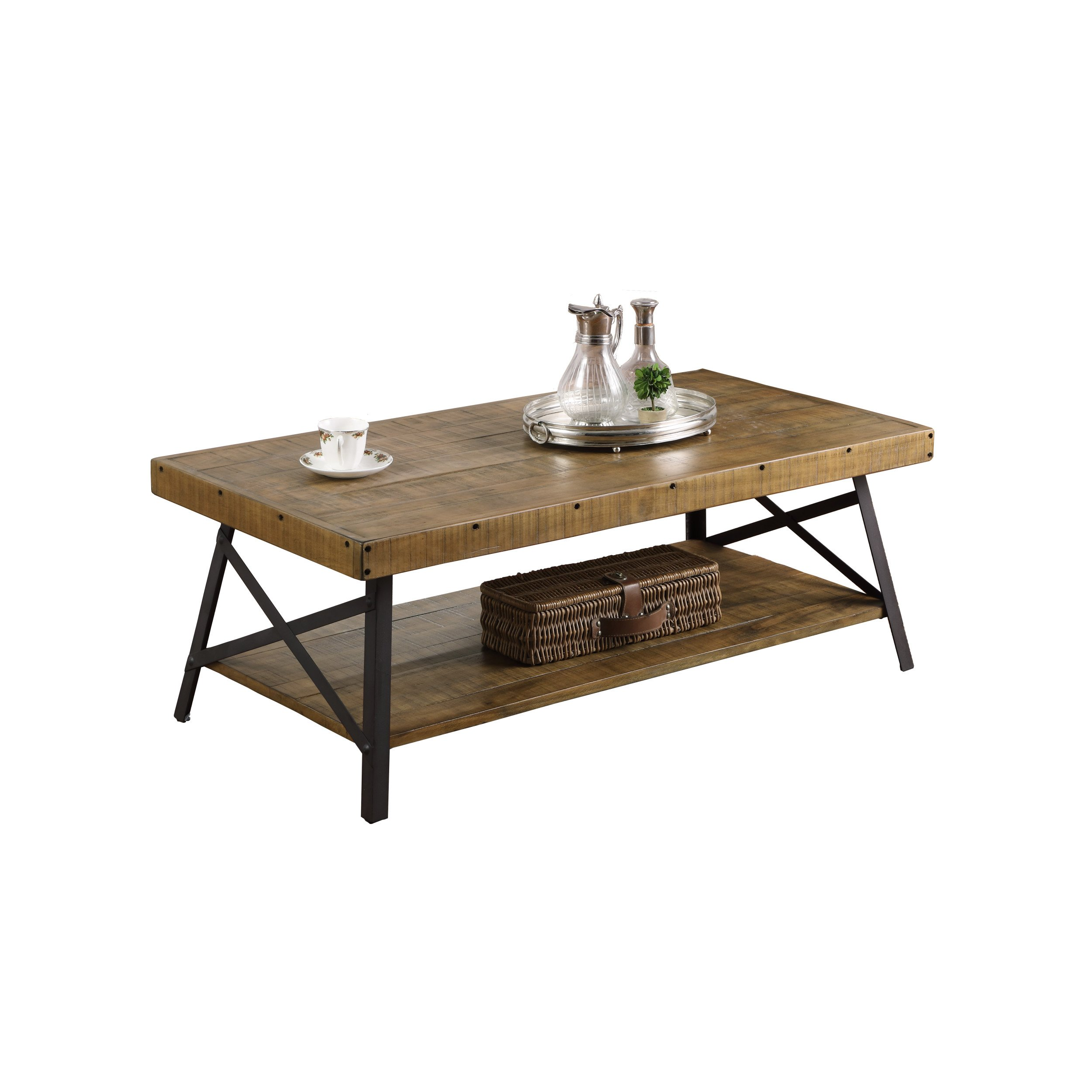 Incroyable Emerald Home Chandler Rustic Industrial Solid Wood And Steel Coffee Table  With Open Shelf