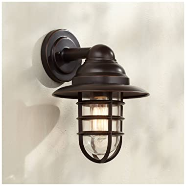 Marlowe Industrial Outdoor Barn Light Fixture Handsome Bronze 13 1/4  Clear Glass for Exterior Patio Porch House - John Timberland