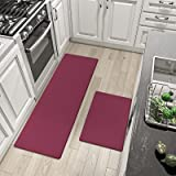 """DEXI Kitchen Rugs and Mats Cushioned Anti Fatigue Comfort Runner Mat for Floor Rug Standing Rugs Set of 2,17""""x29""""+17""""x59"""",Bri"""