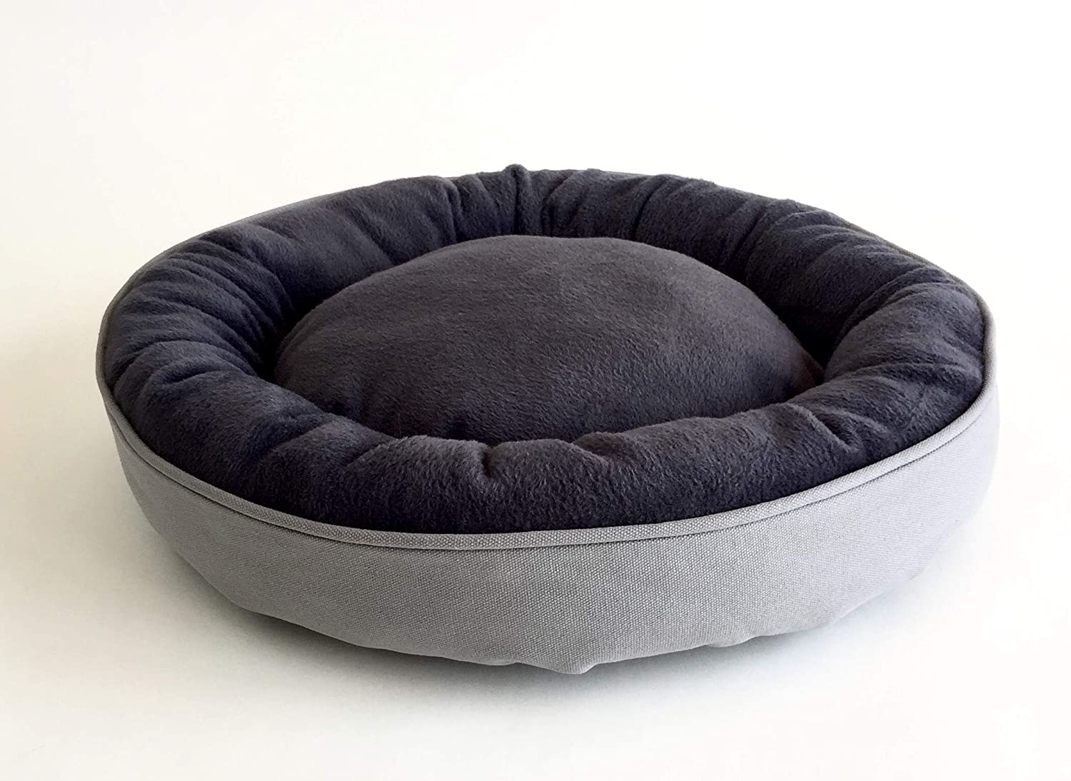 HUSH MOOD Round Cuddler Pet Bed. 100% Cotton Plush and Canvas. Cozy Nesting Donut Bed for Cats and Small Dogs. Grey Canvas, Dark Grey Plush