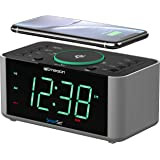 Emerson Alarm Clock Radio and QI Wireless Phone Charger with Bluetooth, Compatible with iPhone XS Max/XR/XS/X/8/Plus, 10W Gal