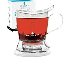GROSCHE Aberdeen PERFECT TEA MAKER Tea pot with coaster, Tea Steeper, Easy Tea Infuser, 17.7 oz. 525 ml, EASY CLEAN Tea Steep