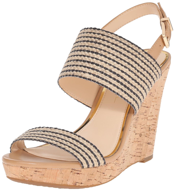 Jessica Simpson Women's JANIC Wedge Sandal B01CDFQETA 10 B(M) US|Natural/Black