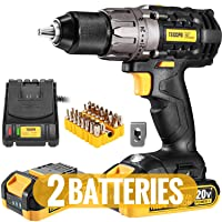 Cordless Drill, 20V Drill Driver 2x2000mAh Batteries, 530 In-lbs Torque, 24+1 Torque Setting, Fast Charger 2.0A, 2-Variable Speed, 33pcs Accessories, 1/2