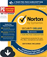 Norton Security Deluxe – 5 Devices – 1 Year Pre-Paid Subscription – with Auto-Renewal [PC/Mac/Mobile Download]
