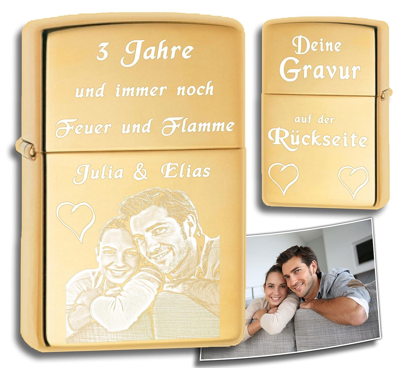 Original Zippo mit deinem Foto   Beidseitig graviert, Rückseite  Messing poliert, gold farben, high polished brass   Gravur von deinem Foto