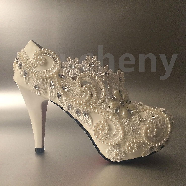 JINGXINSTORE Weiß Pearl Crystal Lace Hochzeit Schuhe Braut Pumpen Größe 5-12 B07DC9HFP3 Tanzschuhe Sonderpreis