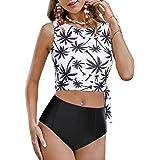 Saodimallsu Womens Vintage 2 Piece Swimsuits High Neck High Waisted Floral Full Coverage Crop Top Bikini Swimwear