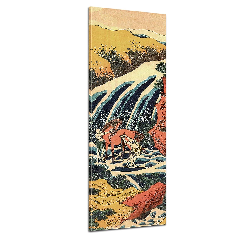 Bilderdepot24 Kunstdruck - Alte Meister - Katsushika Hokusai - Yoshitsune Umarai Wasserfall - Panorama 50x160cm einteilig - Leinwandbilder - Bild auf Leinwand